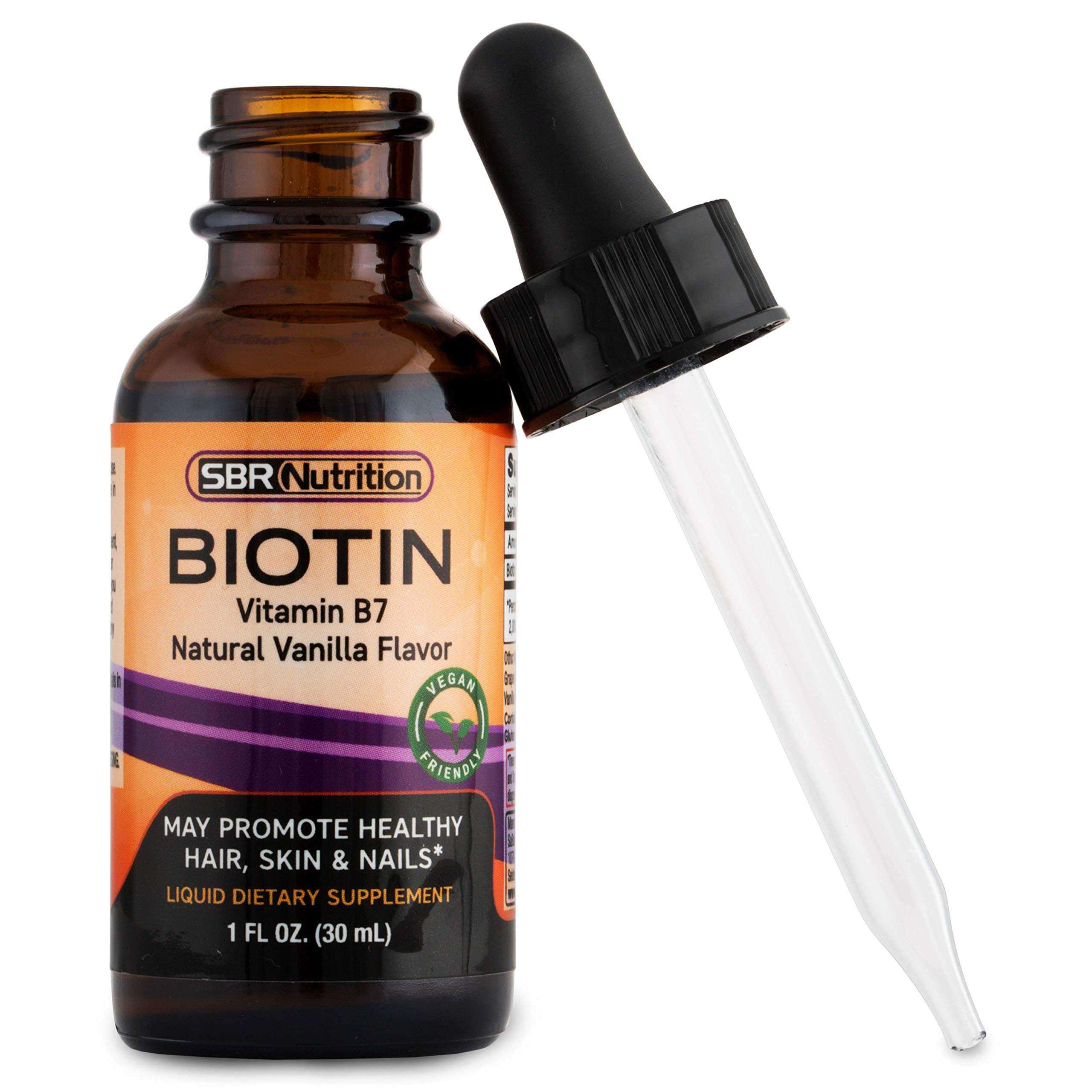 SBR Nutrition Biotin Liquid Drops, 5000mcg per Serving (60) 1.0Fl.oz (30ml) Vanilla