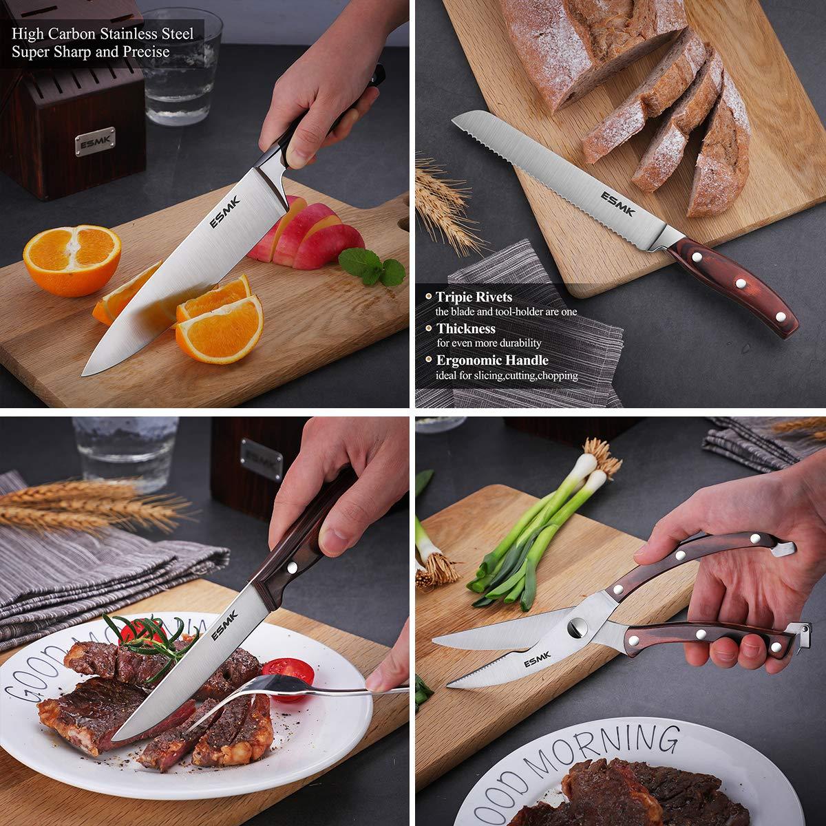 Knife Set, 15-Piece Kitchen Knife Set with Block Wooden, Manual Sharpening for Chef Knife Block Set, German Stainless Steel, ESMK (15 PCs Knife Block Set) by ESMK (Image #7)