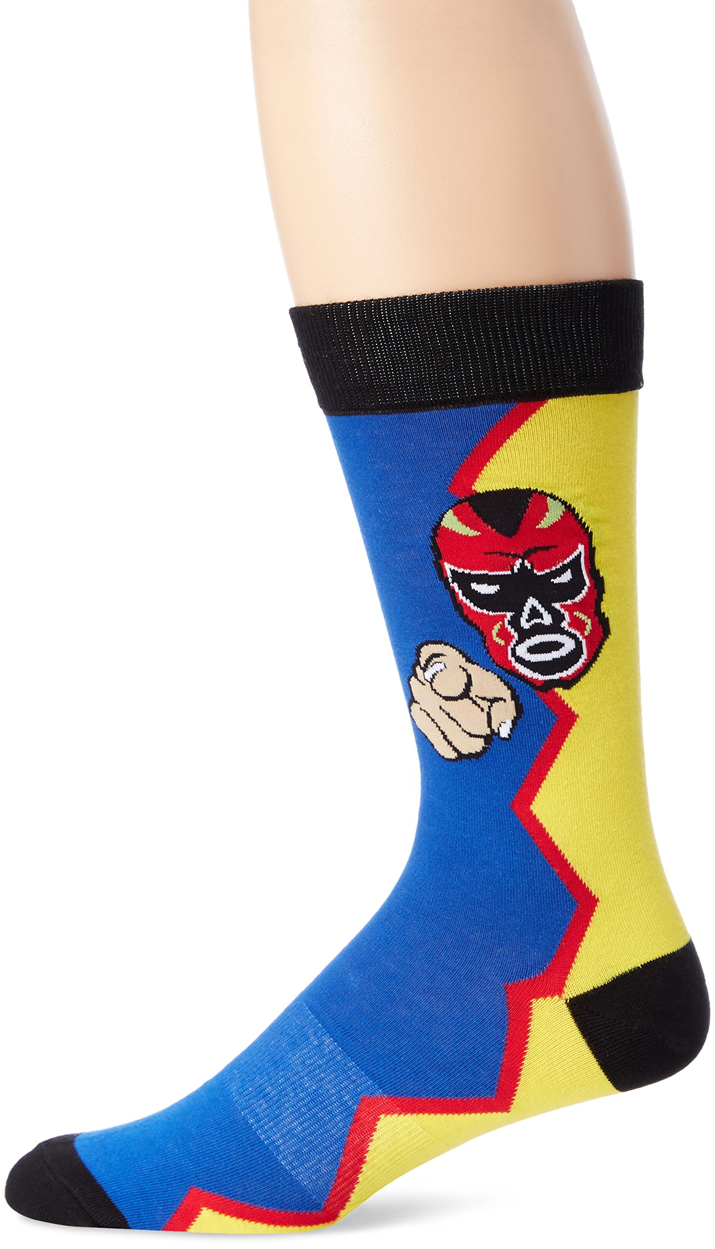 K. Bell Socks Men's Wrestling Crew Sock, Yellow/Royal, Sock Size:10-13/Shoe Size: 6-12