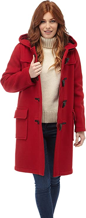 Ladies Long Duffle Coat Red Size 08