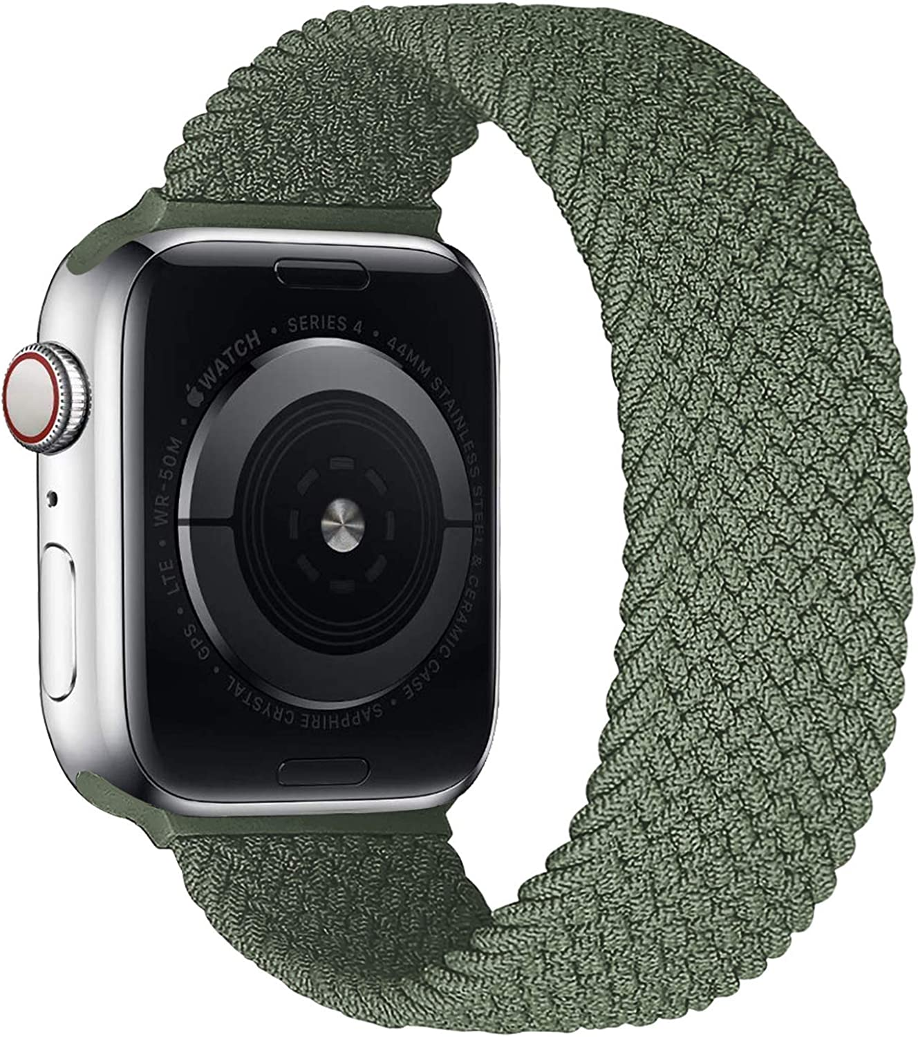 iBazal Sport Stretchy Braided Nylon Band Compatible with iWatch Band 42mm 44mm iWatch Series 6 5 SE 4 3 2 1 Strap,Sport Elastic Women Men Soft Braided Replacement Wristband