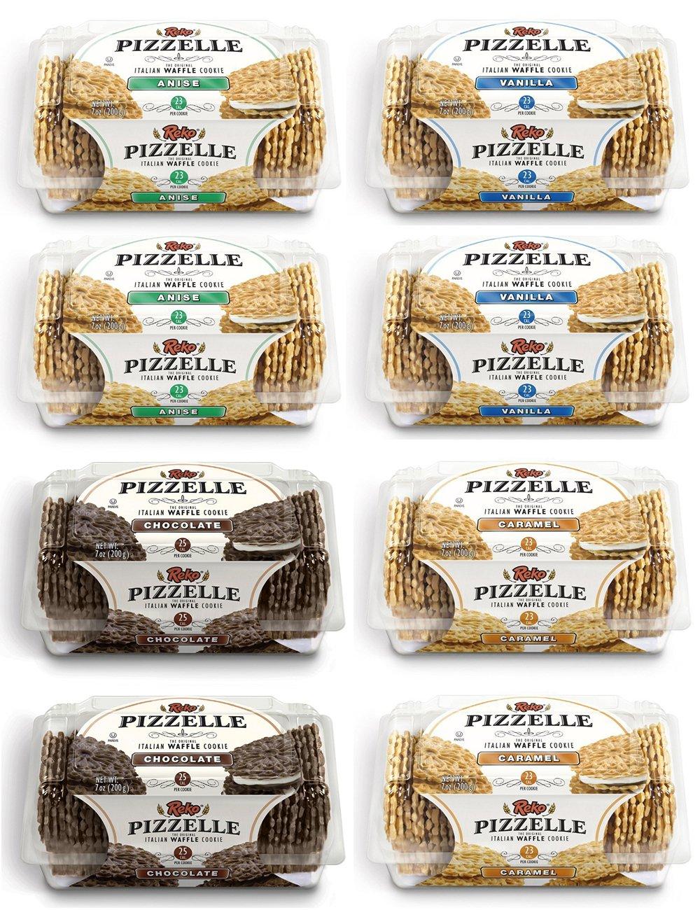 Reko Pizzelle Cookies 4 Flavor Samplers - Anise, Chocolate, Caramel, Vanilla (8 Pack) by Reko