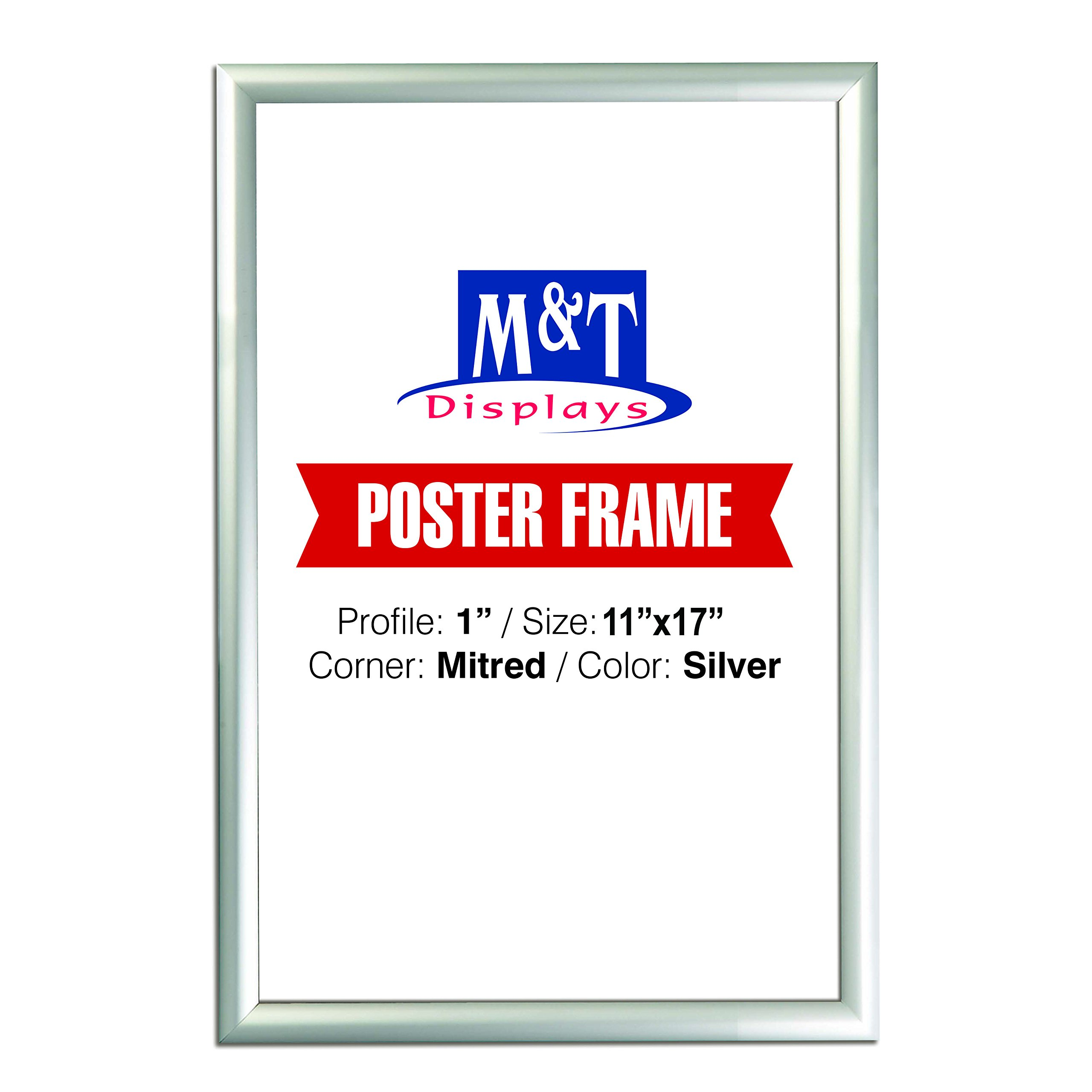 DisplaysMarket Snap Picture Window Frame 11x17, 1'' Silver Mitered Corner, Front Loading, Easy to Use