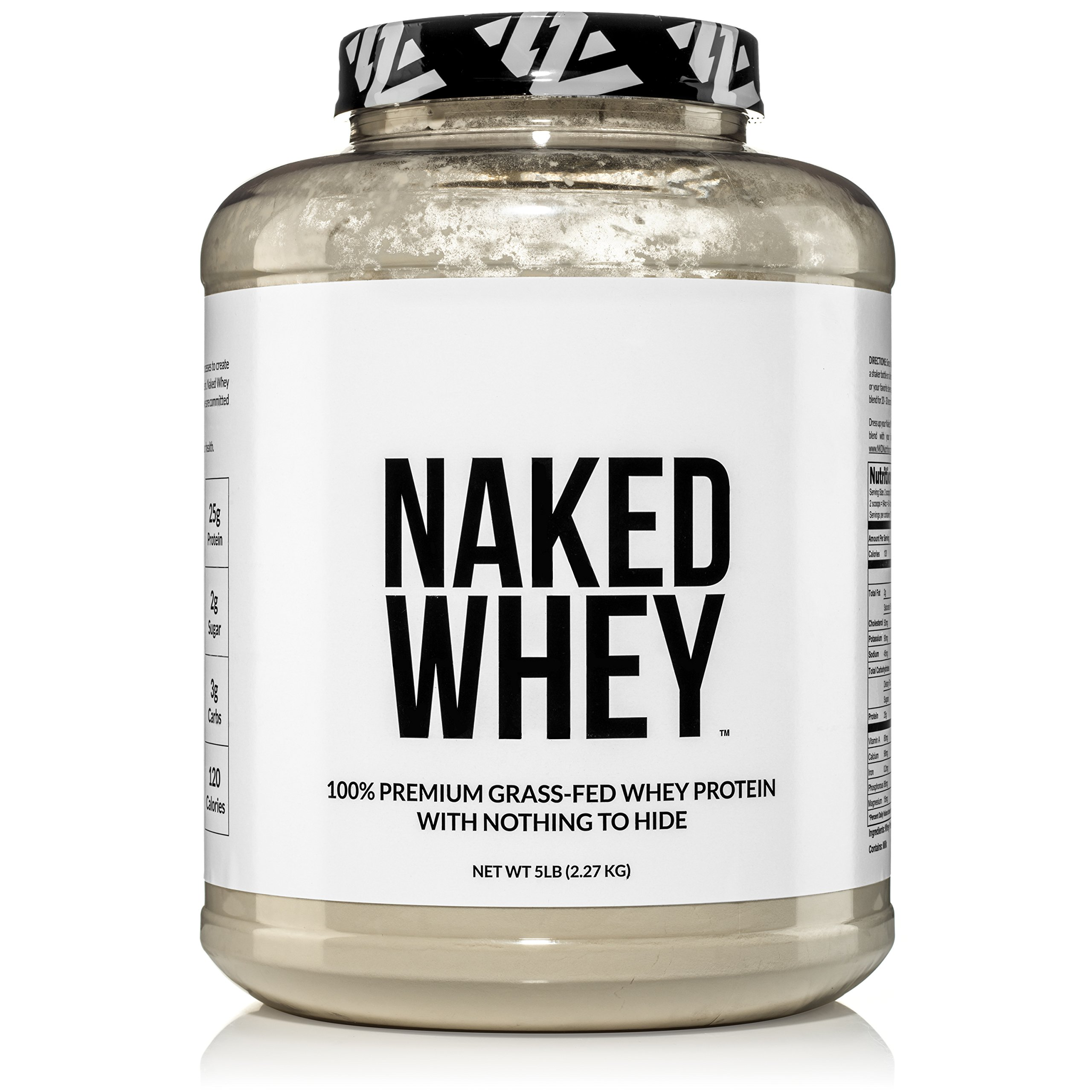 NAKED WHEY 5LB 100% Grass Fed Whey Protein Powder - US Farms, 1 Undenatured, Bulk, Unflavored - GMO, Soy, and Gluten Free - No Preservatives - Stimulate Muscle Growth - Enhance Recovery - 76 Servings by NAKED nutrition