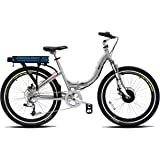 "ProdecoTech Stride 36V300W 8 Speed Electric Bicycle 10Ah Samsung Li Ion, Brushed Aluminum, 18""/One Size"