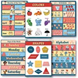 6 Educational poster pack GLOSSY Charts for classrooms early education for learning Alphabet Abc days of the week poster, shapes poster, counting months of the year poster, learning colors edu (18x24)