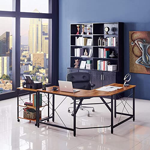 Mr IRONSTONE L-Shaped Desk 59 Computer Corner Desk, Home Gaming Desk, Office Writing Workstation, Space-Saving, Easy to Assemble Vintage
