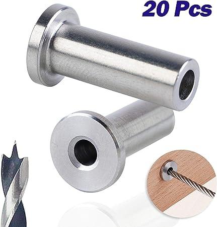 pour poteaux en bois Manchons de protection en acier inoxydable pour c/âble de pont 1//8 pouces bricolage Balustrade T316 Marine Grade