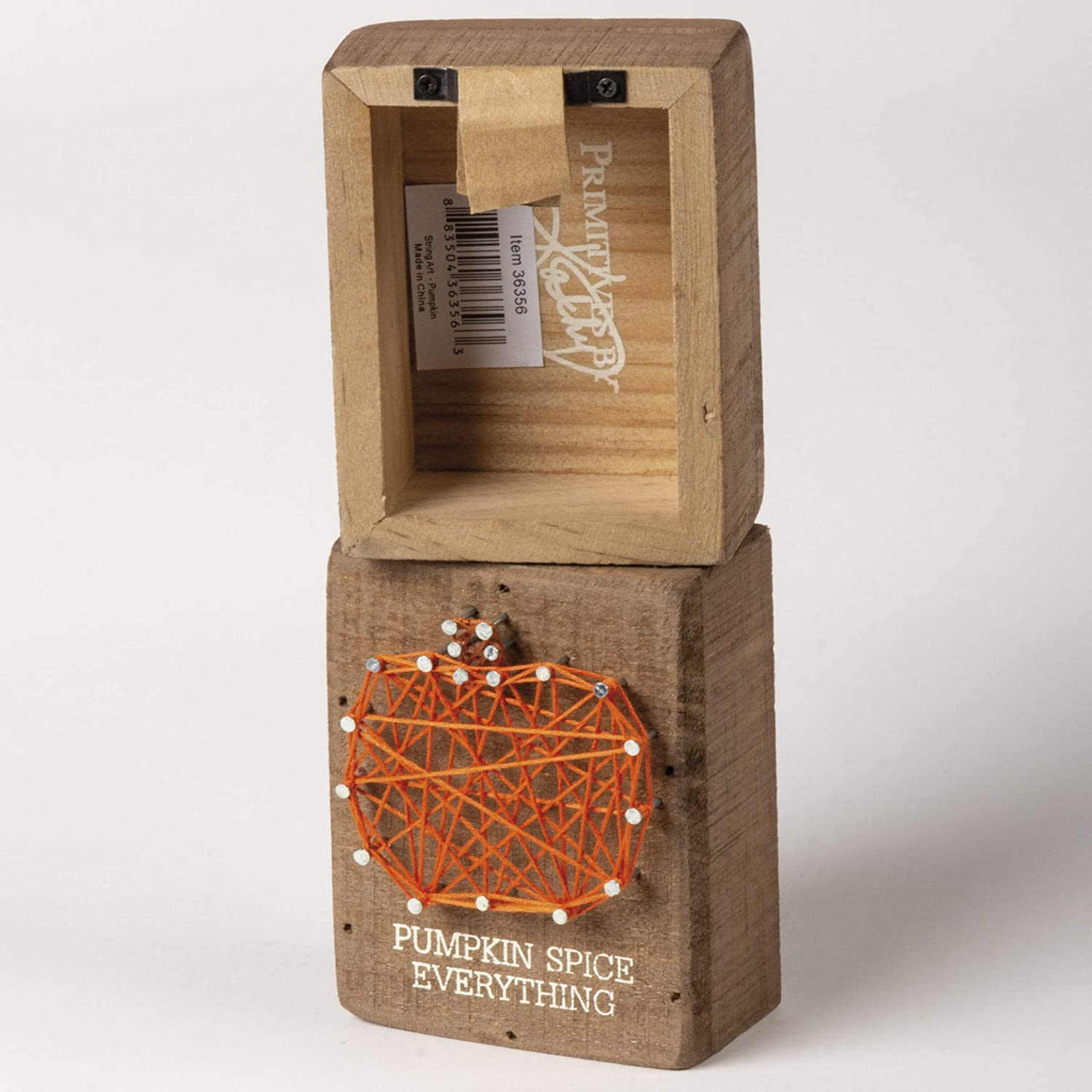 Pumpkin Spice Everything Primitives by Kathy String Art Slat Wood Box Sign 3 x 4-Inch