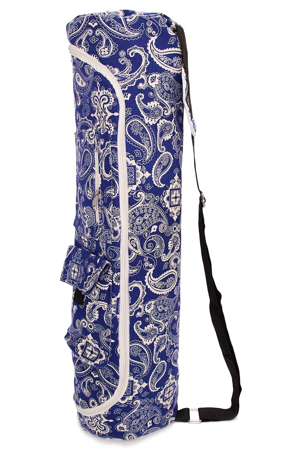 TUONROAD Floral Printed Blue White Bohimian Hippie Stipes Pattern Long Yoga Mat Cavans Yoga Carrying Bag Travel Yoga Bag Womens