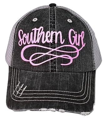 Loaded Lids Women s Southern Girl Distressed Bling Baseball Cap (Grey Pink) 5e65dff7c1f3