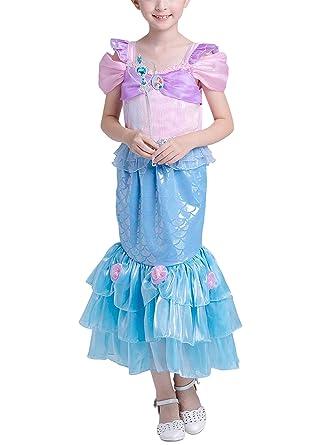 DJSJ- Sirena Disfraz Niña Vestido de Cosplay Traje Princesa ...