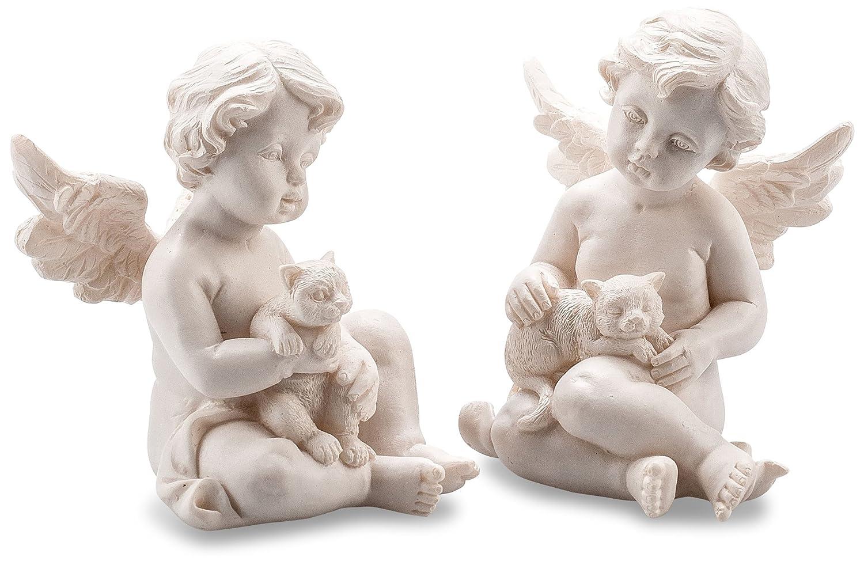 Pajoma 10609, Stautette di angeli con gatto, set di 2, in resina, altezza 7,5 cm
