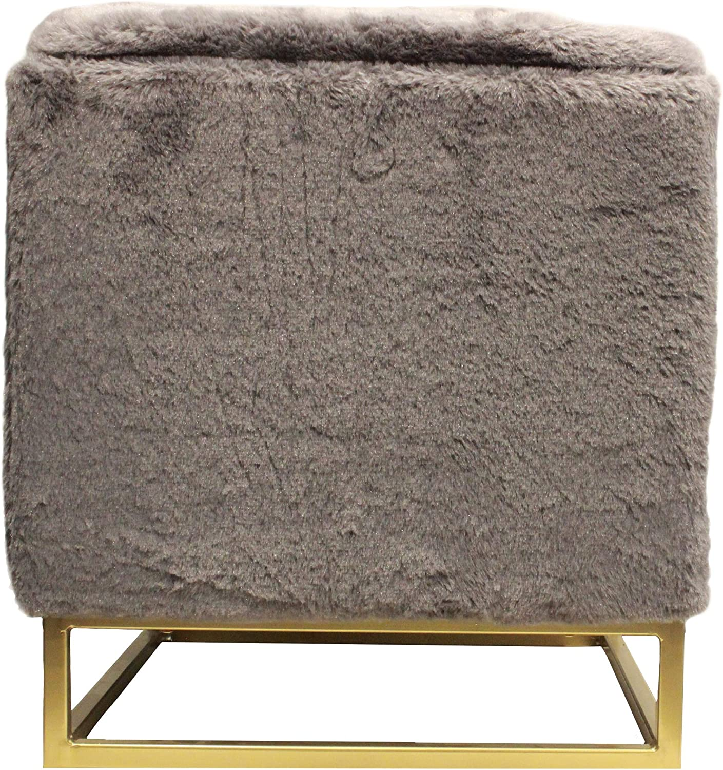 Design Guild Fur Legs Ottoman Beautiful Square Footrest w/Soft, Plush Cover, Thick Padded Cushion, Decorative Gold Metal Plated Feet with Storage, Gray