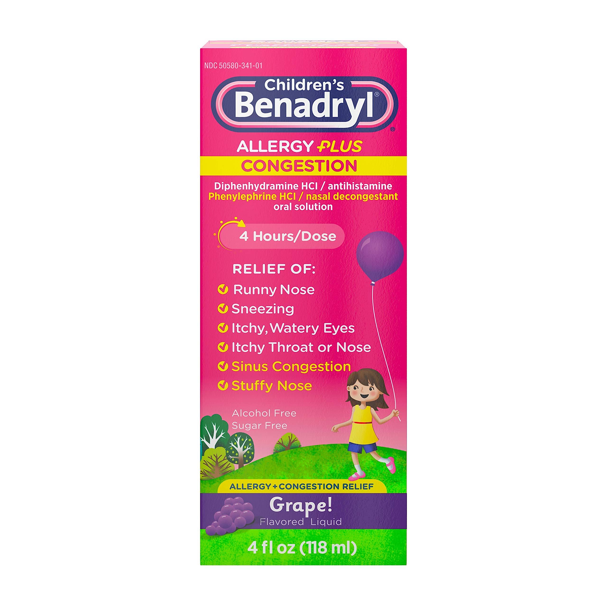 Children's Benadryl Allergy Plus Congestion Liquid Medicine, Grape, 4 fl. oz