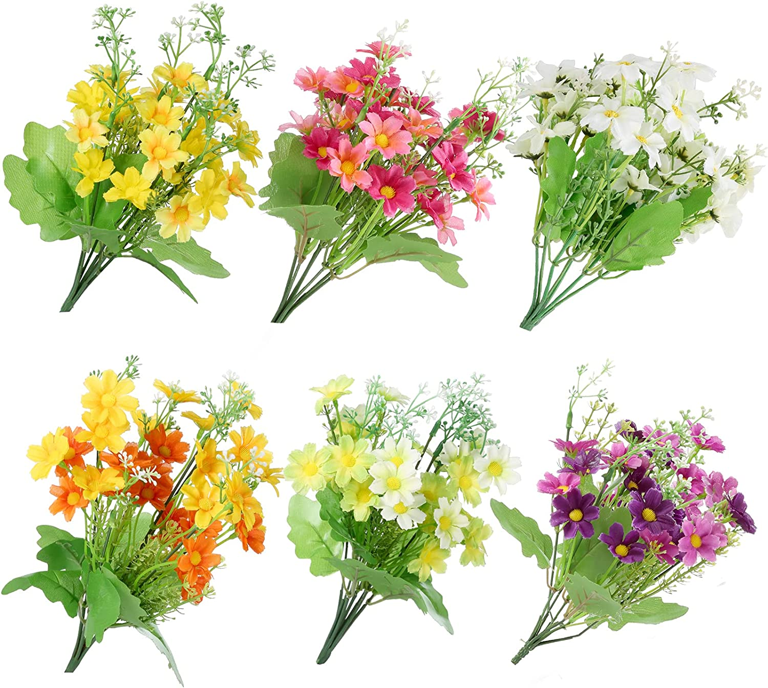 Omldggr 6 Pieces Faux Silk Daisy Artificial Flower Plastic Flowers Plants Plastic Bushes for Indoor Outside Hanging Planter Home Garden Decor (Yellow, Purple, White,Orange,Pink,Green)