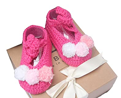 cae6a6e58 Amazon.com | The Bunny Baby Girl Shoes Handmade Crochet Baby Shoes Baby  Cute Shoes Hand Knitted Accessories Toddler Fisrt Walkers Infant Princess  Flats ...