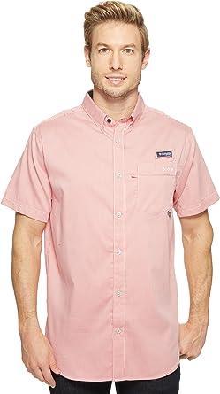 Columbia Camisa de manga corta Slim Fit de Super Harborside para hombre Camisa de manga larga de Microing Gingham roja Sunset: Amazon.es: Ropa y accesorios
