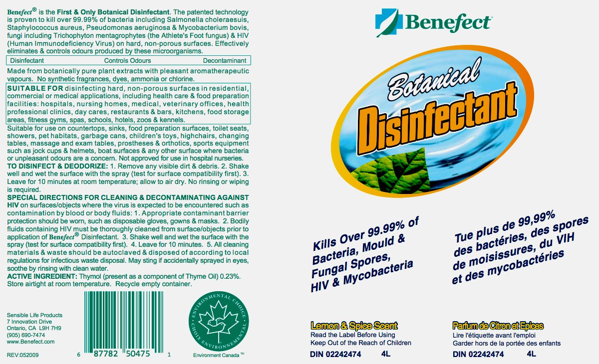 Benefect - Botanical Disinfectant - Broad Spectrum - Kills 99.99% of Germs - *4 Gallons = 1 Case* - 20475