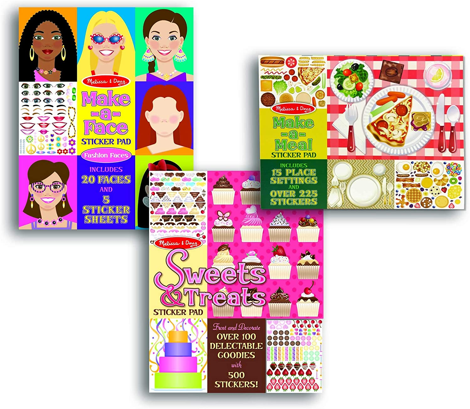 Melissa & Doug Sticker Pads Set: Sweets and Treats, Make-a-Face Fashion, and Make-a-Meal