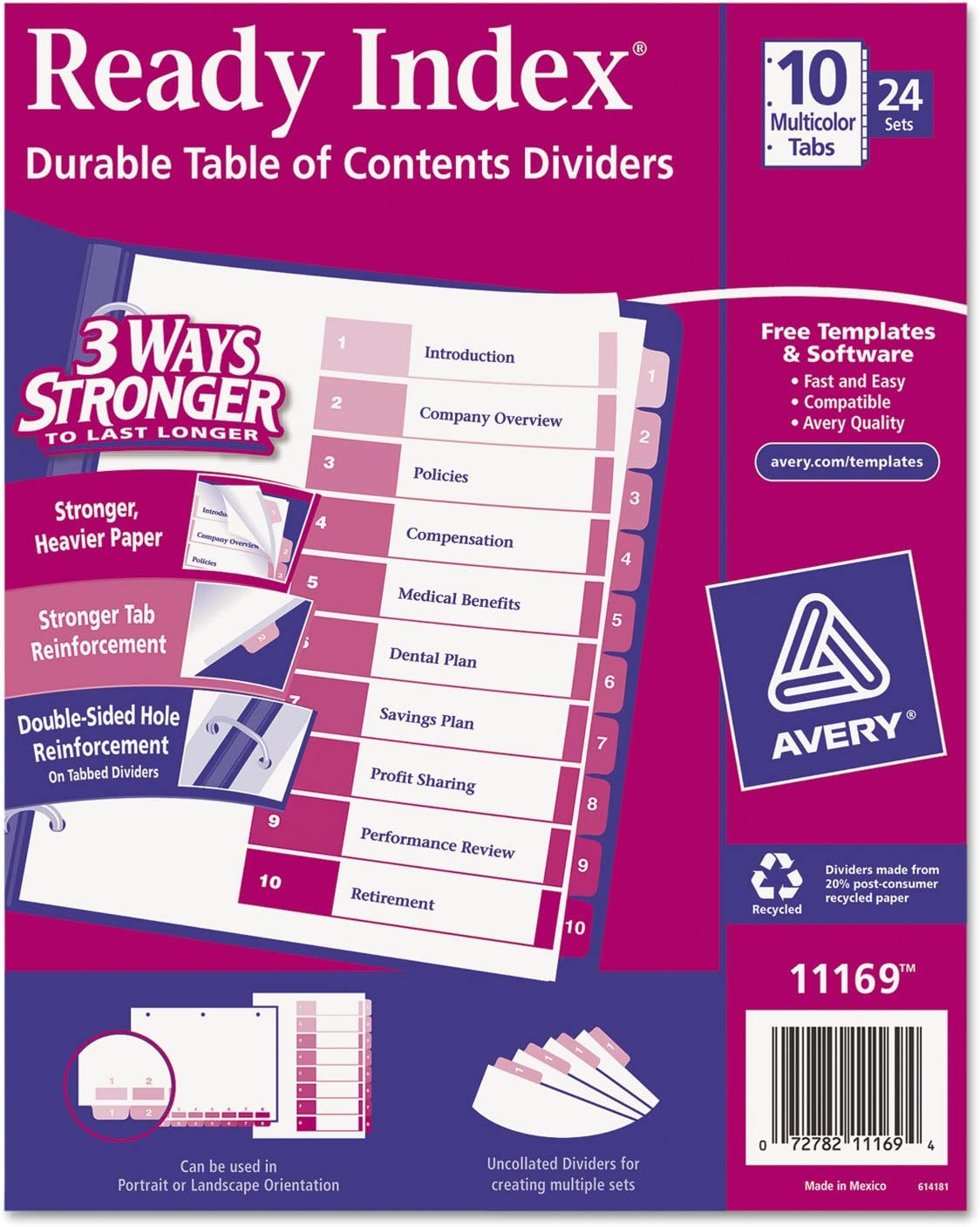 AVE11169 Avery Ready Index Table//Contents Dividers
