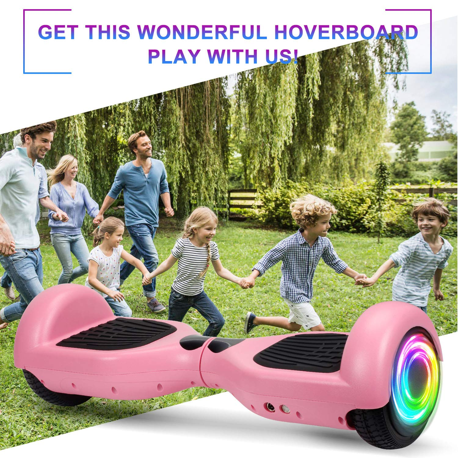 SISIGAD Hoverboard Self Balancing Scooter 6.5'' Two-Wheel Self Balancing Hoverboard with LED Lights Electric Scooter for Adult Kids Gift UL 2272 Certified - Pink by SISIGAD (Image #7)