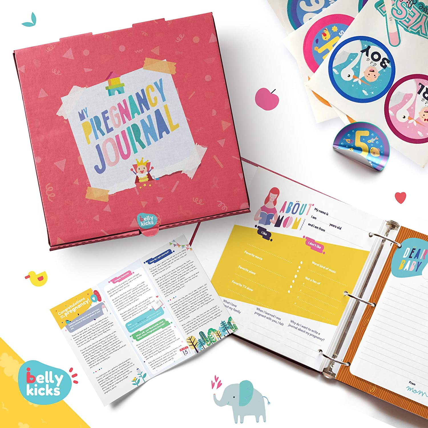 Weekly Pregnancy Journal with 40 Milestone Stickers, 120 Pages That Can Be Rearranged, Baby Memory Books and Journals Make Great Gifts for First Time Moms! Book Comes in A Binder and Keepsake Box Belly Kicks