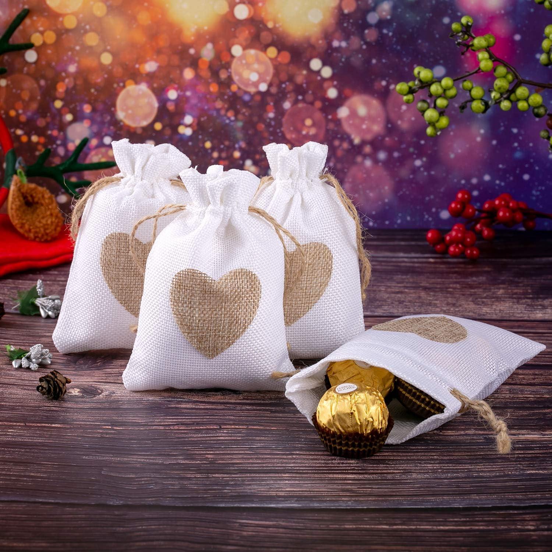 15 St/ück Herzen Wei/ß Jutes/äckchen Leinen S/äckchen Sack Beutel Leinen Schmuck Herz S/äckchen Stoffbeutel Geschenks/äckchen Jutebeutel f/ür Weihnachten Kindergeburtstag Hochzeit Party DIY Handwerk