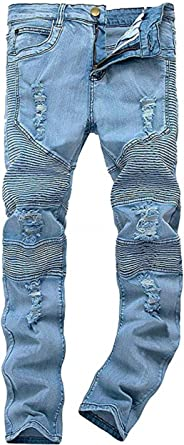 Men's Destroyed Biker Slim Fit Ripped Skinny Fashion Denim Jeans Pants