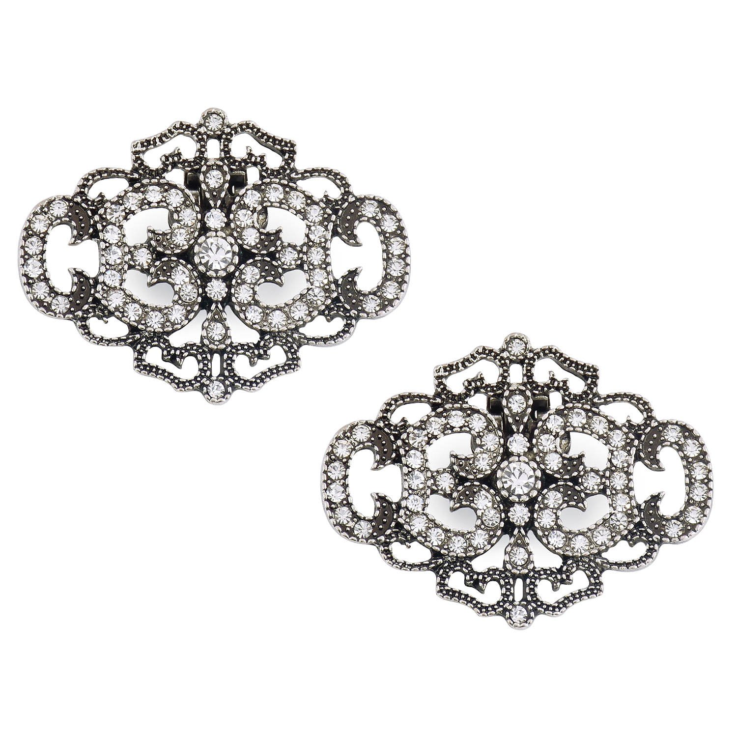 ElegantPark CK Antique Silver Crown Design Rhinestones Wedding Party Decoration Shoe Clips Silver 2 Pcs