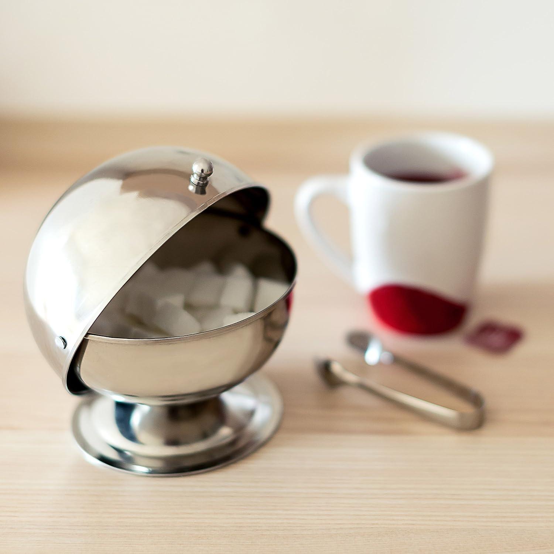 Relaxdays Sweety Zuccheriera in Acciaio Inossidabile con Coperchio Rotante Modello Integrato con Pomello Argento 14 X 13 X 13 cm
