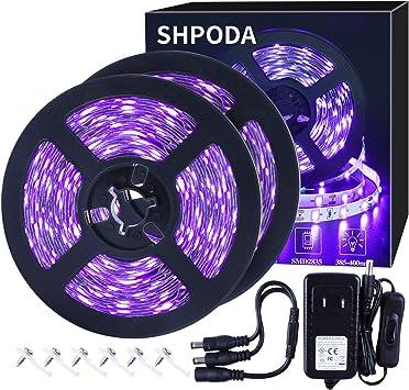 SHPODA 33ft LED Black Light Strip Kit, 600 Units, 385nm-400nm, 12V Flexible Blacklight Fixtures, 10M LED Ribbon, Non-Waterproof for Indoor, Birthday, Wedding, Dark Party
