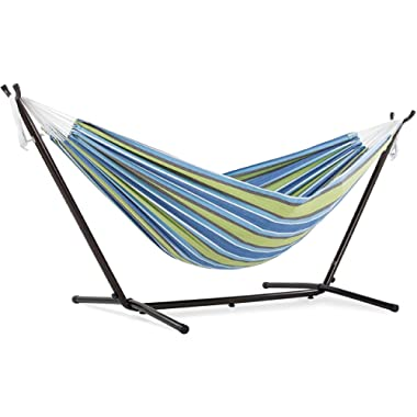 Vivere Double Cotton Hammock with Space Saving Steel Stand, Oasis (450 lb Capacity - Premium Carry Bag Included)