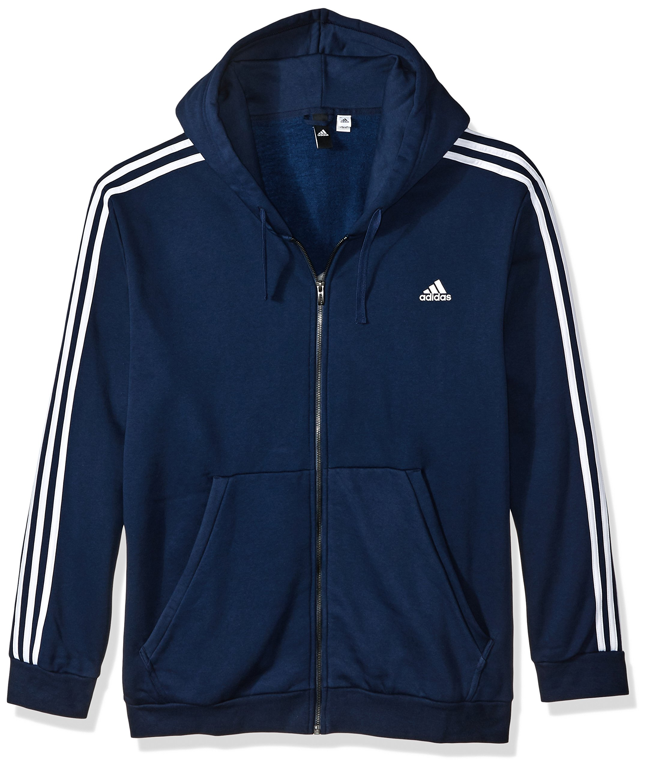 adidas Men's Athletics Essential Cotton 3 Stripe Full Zip Hoody, Collegiate Navy/White, 3X-Large