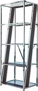 Coaster Home Furnishings Alamosa 4-Tier Bookcase with Glass Shelf Chrome Open Shelves, Grey