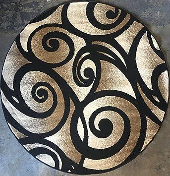 modern round area rug black bellagio swirl design 341 4 feet x 4 feet