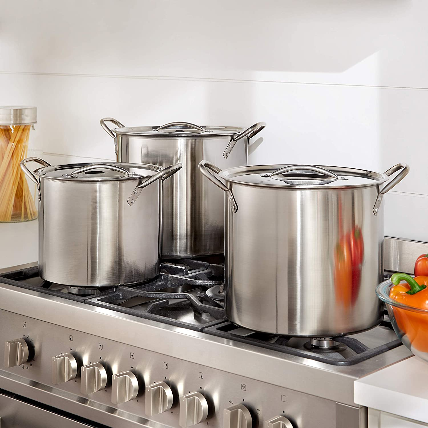 Stainless Steel Stockpot Set Stainless BrylaneHome 6-Pc