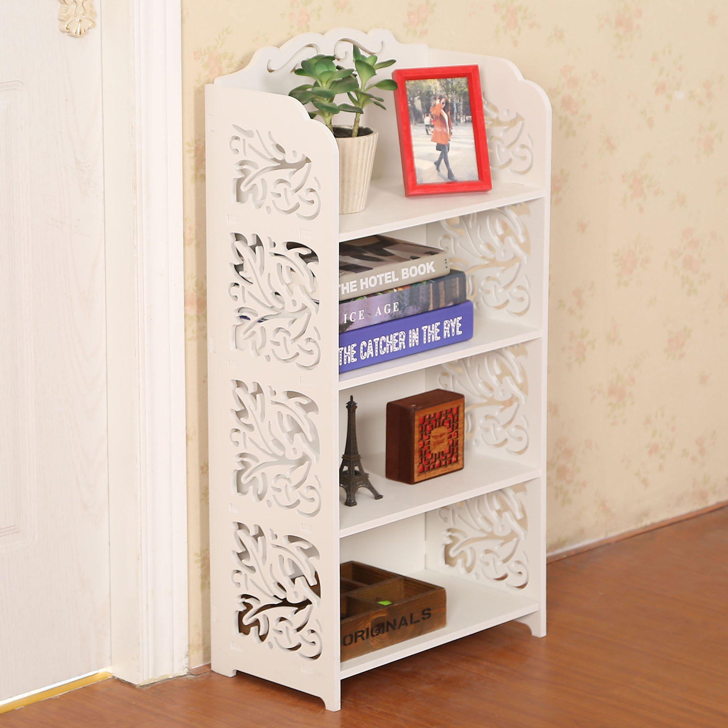 Dline - 4 Tiers Wood-Plastic Composites Storage Shelf, White by D-Line