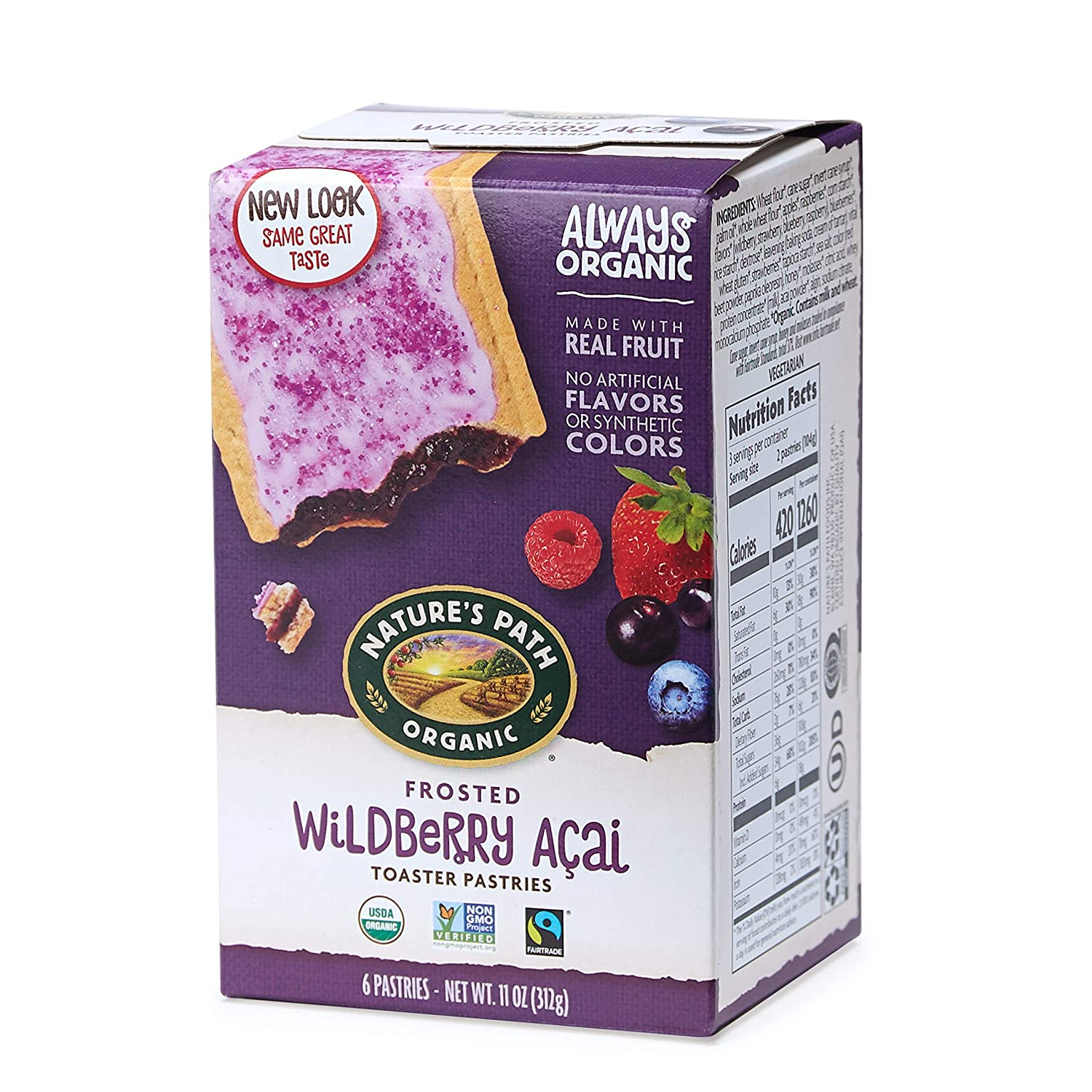 Nature's Path Frosted Wildberry Acai Toaster Pastries, Healthy, Organic, 11-Ounce Box (Pack of 12)