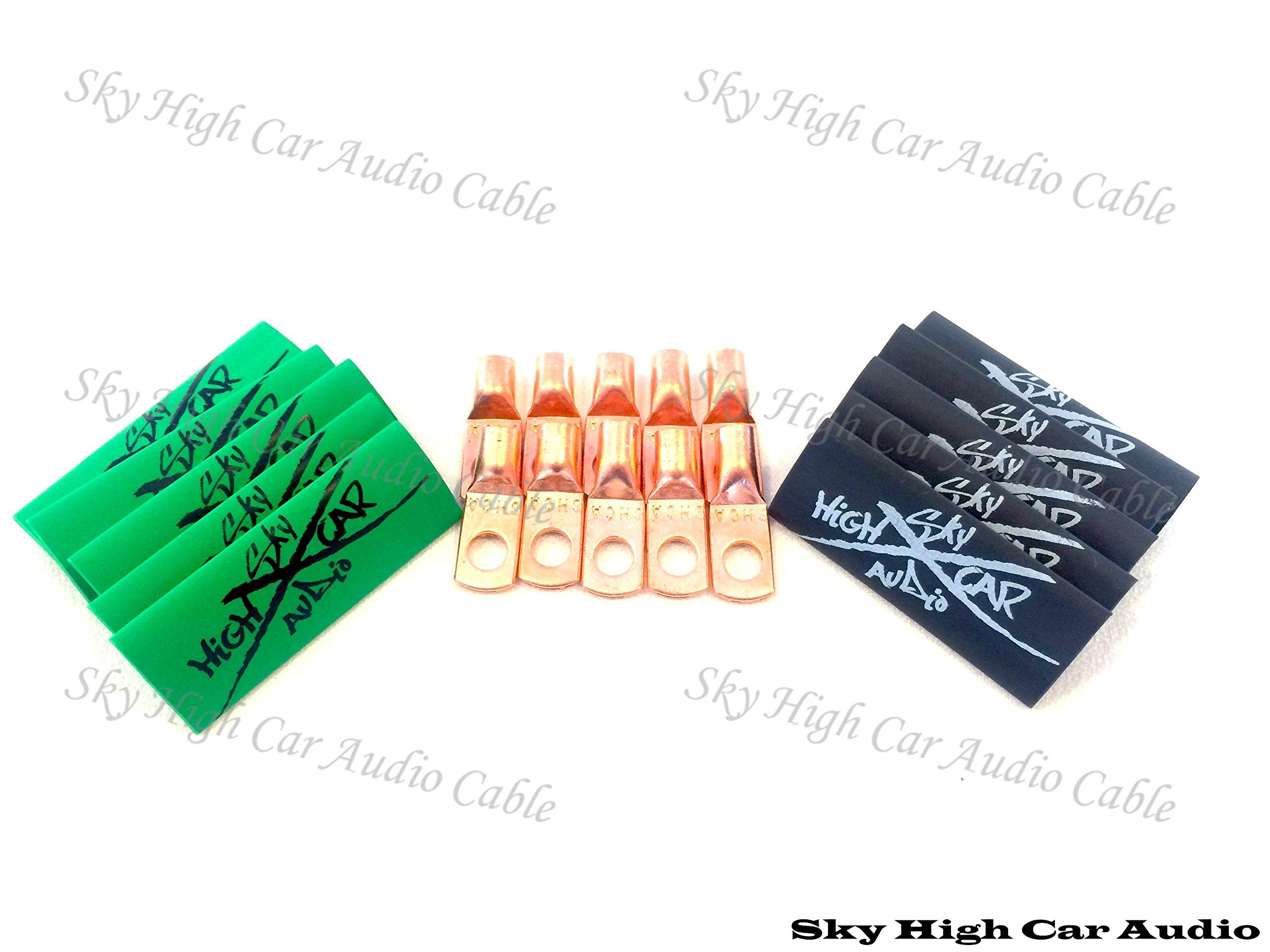 (10) 8 Gauge Copper Ring Terminals 1/4'' Green/black Heat Shrink Tubing Lugs