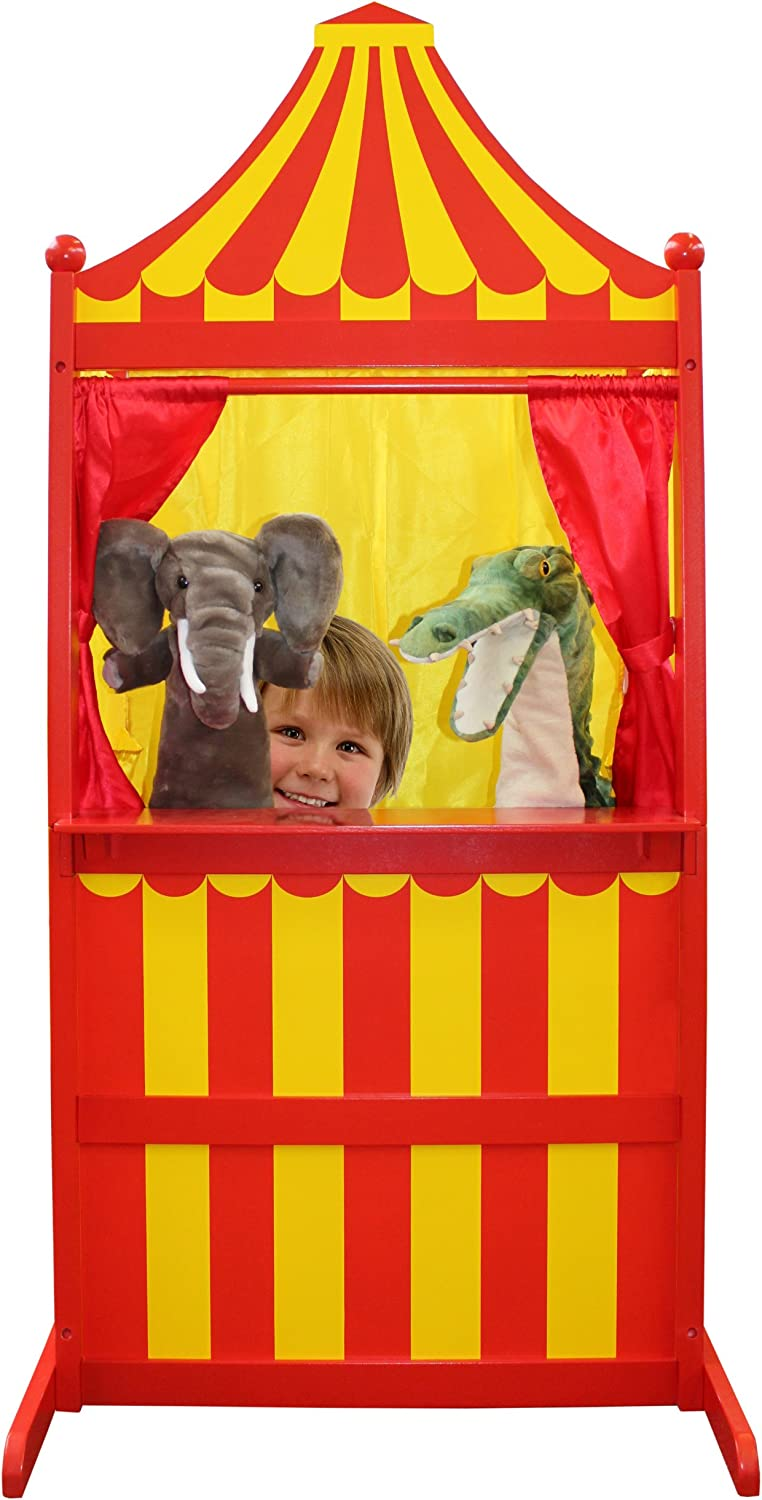 die Puppet Company 3 bei 1 Puppet Theatre Children Toys Puppets, Red/Yellow