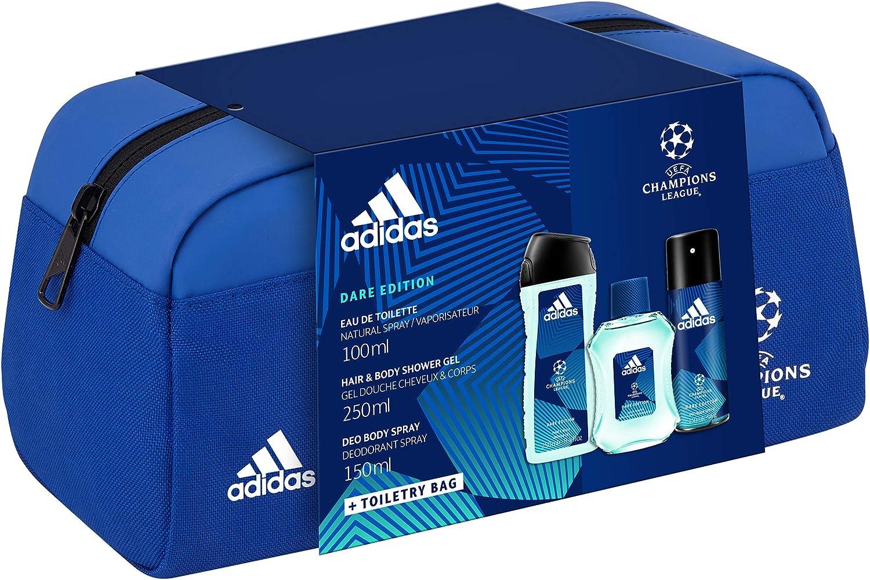 Coffret Adidas Trousse UEFA6 DARE EDITION 3 produits Une Eau de Toilette, un Gel Douche et un Déodorant