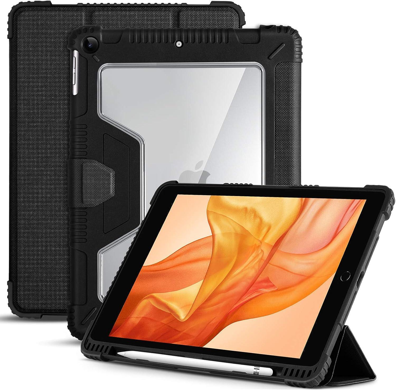 Akkerds Case for iPad 8/7(10.2 Inch, 2020/2019 Model, 8th/7th Generation), Ultra Slim Anti Fall Protective iPad 10.2 Case, Inside Apple Pencil Holder, Auto Sleep & Wake Feature for iPad 8th/7th, Black