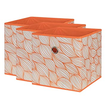 SbS Collapsible Foldable Fabric Storage Boxes, Cubes, Bins, Baskets. Orange  Leaf Pattern