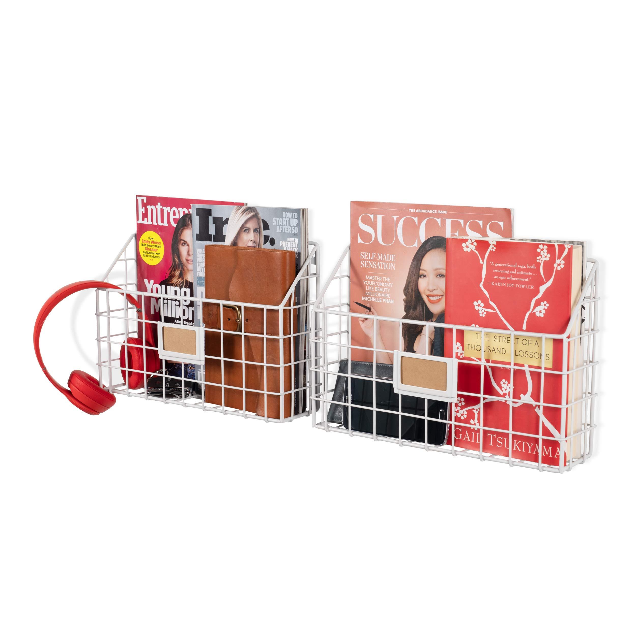 Wall35 Rivista Multipurpose Wall Mounted Farmhouse Design Basket - Wide Magazine Rack Metal Wire White Set of 2