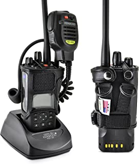 product image for Turtleback Carry Holder for Kenwood 5200 5300 5400 NEXEDGE Radio with D Rings Attachment, Fire and Police Two Way Radio Belt Case, Black Leather Duty Belt Holster with Heavy Duty D Rings, Made in USA