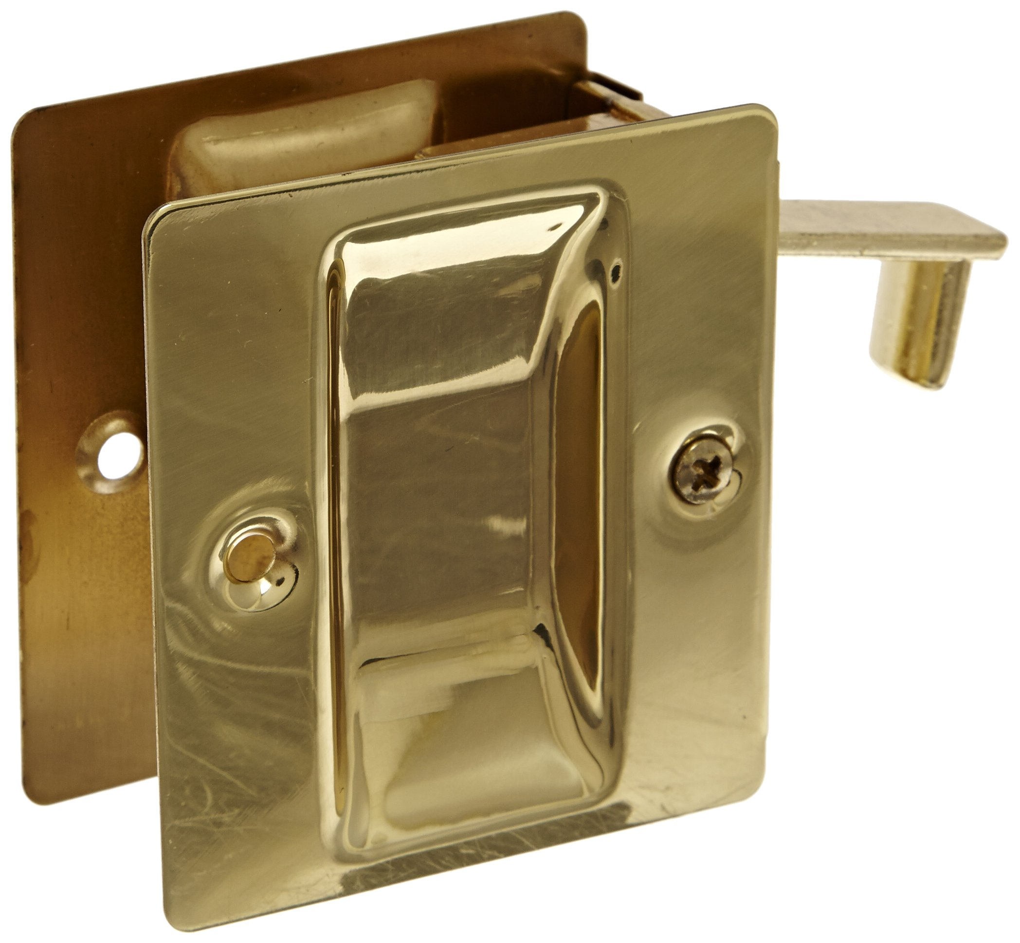 Rockwood 890.3 Brass Pocket Door Pull, 2-1/2'' Width x 2-3/4'' Height, Polished Clear Coated Finish