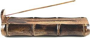 TREELANCE Bamboo Incense Burner Handmade Stick Incense Holder with Craft Storage Box Wood Ash Catcher Sticks Incense Holder Brown Meditation Incense Holders Burners for Sticks Catch all Ashes Gift