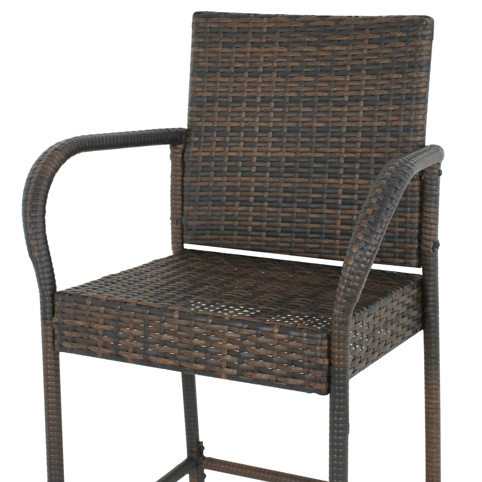SUPER DEAL Wicker Bar Stool Outdoor Backyard Rattan Chair Patio Furniture Chair w/Iron Frame, Armrest and Footrest, Set of 4 by SUPER DEAL (Image #7)