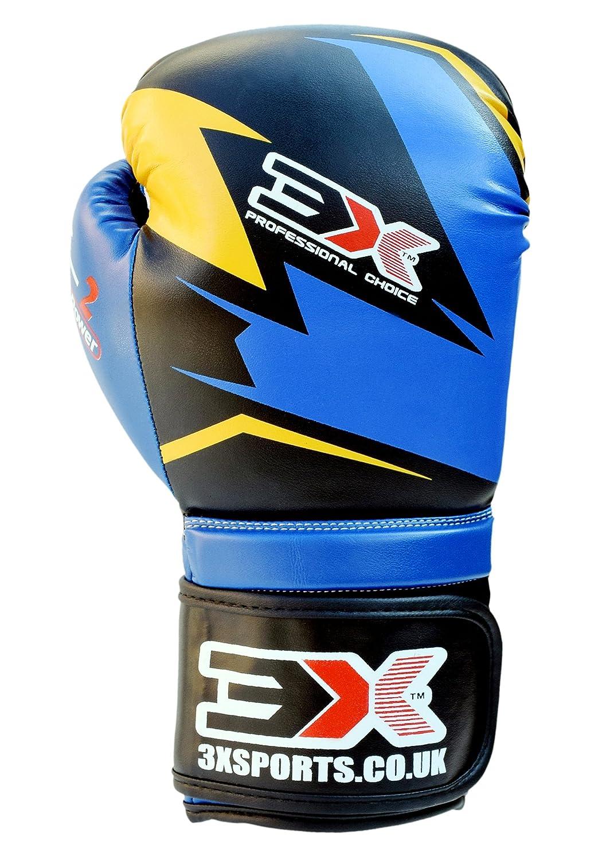 3x deportes Muay Thai formación cuero sintético Boxeo Focus guantes de boxeo Kick Boxing Fighting 3X Sports